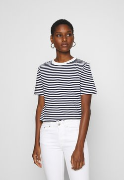 Selected Femme - SLFMY PERFECT TEE BOX CUT - T-Shirt print - maritime blue/snow white