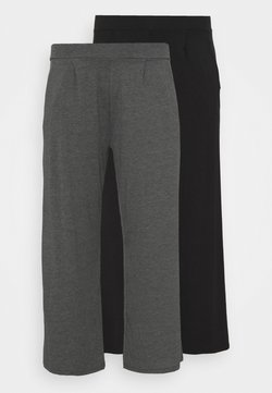 CAPSULE by Simply Be - STRAIGHT LEG TROUSER REGULAR 2 PACK - Bukse - black/grey