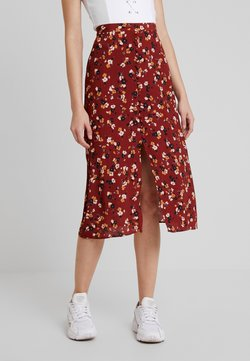 Forever New - STELLA BUTTON FRONT MIDI  - A-snit nederdel/ A-formede nederdele - dark red