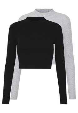Even&Odd - 2 PACK - Langærmede T-shirts - light grey/black