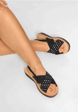 Yours Clothing - CROSS OVER DIAMANTE IN EXTRA WIDE FIT - Riemensandalette - black