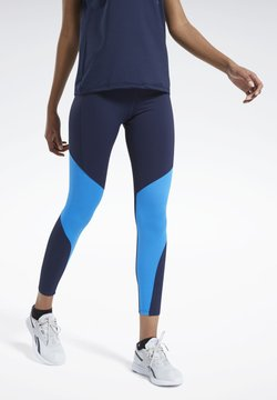 Reebok - REEBOK LUX BOLD MESH 2 LEGGINGS - Tights - blue