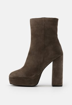 Even&Odd Wide Fit - LEATHER - High Heel Stiefelette - khaki