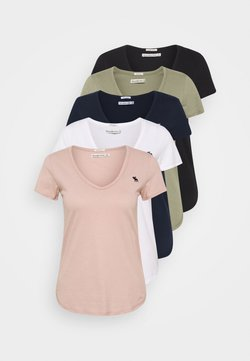 Abercrombie & Fitch - 5 PACK - T-Shirt basic - white/black/pink/olive/navy
