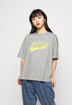 Missguided Petite - MICHIGAN DROP SHOULDER - T-shirt z nadrukiem - grey marl