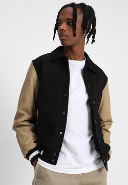 Urban Classics - COLLAR COLLEGE  - Bomberjacke - black/beige