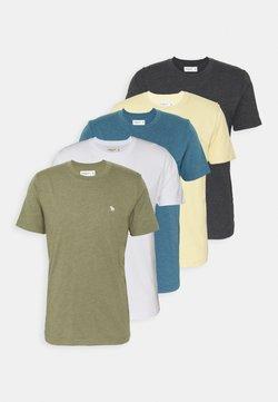 Abercrombie & Fitch - NEUTRAL CREW MULTI 5 PACK - Camiseta básica - white/yellow/green/blue/black