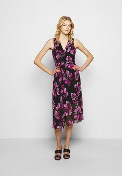 DKNY - V-NECK WRAP WITH U-SHAPED HARDWARE - Day dress - black/new berry/multi