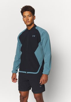 Under Armour - RIPSTOP WIND BOMBER - Chaqueta de entrenamiento - black/lichen blue/black