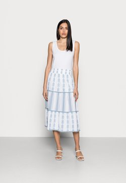 Rich & Royal - MIDI SKIRT EMBROIDERED - A-Linien-Rock - smoked blue