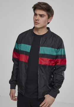 Urban Classics - STRIPED NYLON JACKET - Leichte Jacke - black/firered/green