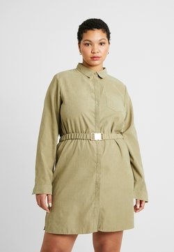 Missguided Plus - SOFT TOUCH BELTED DRESS - Robe chemise - khaki