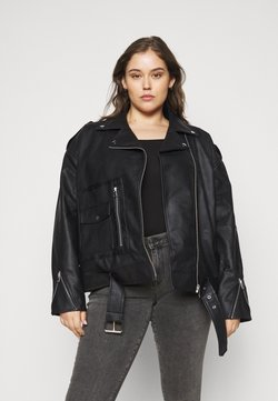 Missguided Plus - BOYFRIEND BIKER POCKET DETAIL - Keinonahkatakki - black