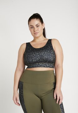Wolf & Whistle - ANIMAL PRINT CUT OUT BACK BRA CURVE - Sport BH - khaki