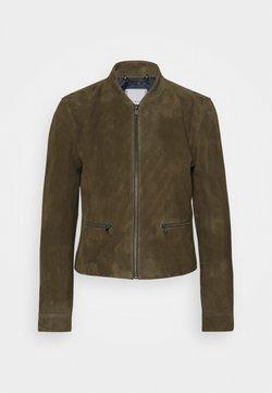 Tommy Hilfiger - NADIA SLIM VARSITY - Leather jacket - army green