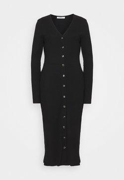 Glamorous Tall - LONG SLEEVES BUTTON FRONT DRESS - Gebreide jurk - black