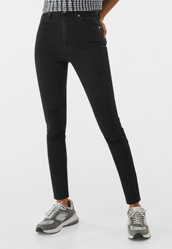 Bershka - SUPER HIGH WAIST - Jeansy Slim Fit - black