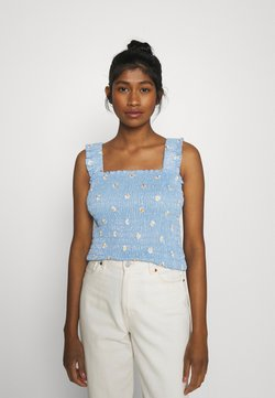 Pieces - PCMARY STRAP SMOCK - Top - blue fog