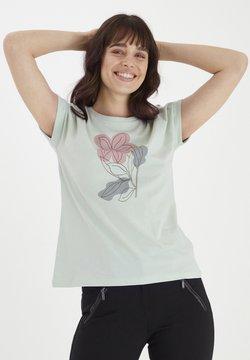 Fransa - MIT FLORALEM PRINT - T-Shirt print - aqua foam