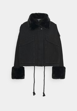 Missguided Petite - FUR COLLAR - Veste en jean - black