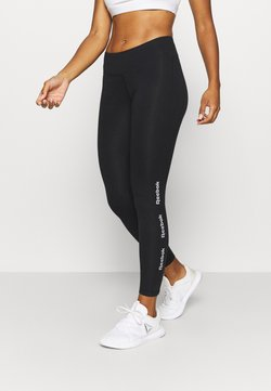 Reebok - LINEAR LOGO LEGGING - Tights - black/black