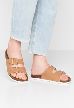 Rubi Shoes by Cotton On - REX DOUBLE BUCKLE SLIDE - Chaussons - camel