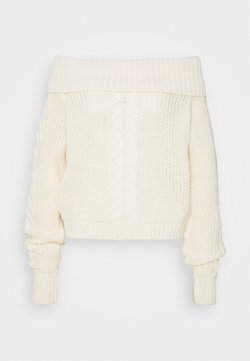 Missguided Tall - BARDOT CABLE CROP JUMPER - Maglione - cream