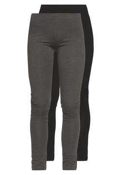 Even&Odd - 2 PACK - Legging - black/mottled dark grey