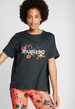 Desigual - OVERSIZE FLOWERS - Printtipaita - khaki