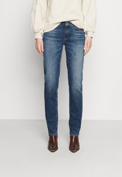 Marc O'Polo - TROUSER MID WAIST - Jeans Straight Leg - blue denim