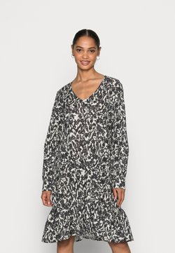 Marc O'Polo - DRESS A-SHAPE GATHERINGS V-NECK LONG SLEEVE - Freizeitkleid - black