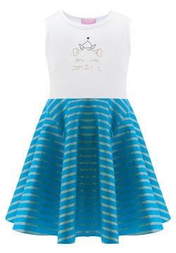 Evika Kids - WITH CAT - Freizeitkleid - white/turquoise