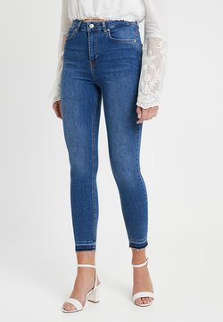 NA-KD - HIGH WAIST OPEN HEM - Jeans Skinny Fit - mid blue
