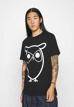 KnowledgeCotton Apparel - ALDER BASIC OWL TEE  - Printtipaita - black jet