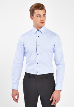 Next - LIGHT BLUE SLIM FIT SINGLE CUFF COTTON SHIRT WITH PAISLEY TRIM D - Businesshemd - blue