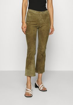 Ibana - AIMEE - Pantalon en cuir - mossgreen