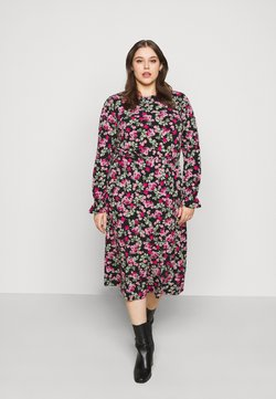 Simply Be - FLORAL MIDI DRESS - Jerseykleid - black