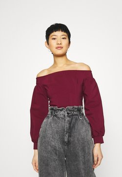 Who What Wear - OFF THE SHOULDER CORSET - Bluse - burgundy