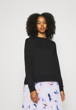 Zign - Slit Sides Oversized Sweatshirt - Sweater - black
