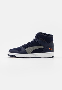 Puma - REBOUND LAYUP JR  - Sneaker high - peacoat/ultra gray/dragon fire/white