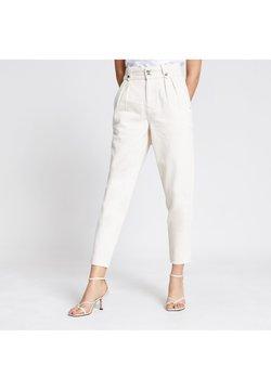 River Island - ECRU HIGH RISE TAPERED JEANS - Slim fit jeans - cream