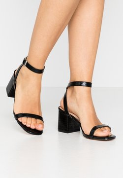 Lost Ink Wide Fit - BLOCK HEEL BARELY THERE - Sandales - black