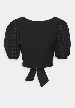 Glamorous - PUFF SLEEVE CROP WITH FRONT TIE - Bluse - black