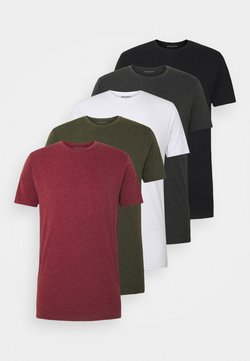 Denim Project - 5 PACK  - Basic T-shirt - olive night melange/bordeaux melange