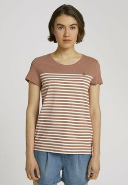 TOM TAILOR DENIM - WITH EMBRO - T-shirt print - clay rose