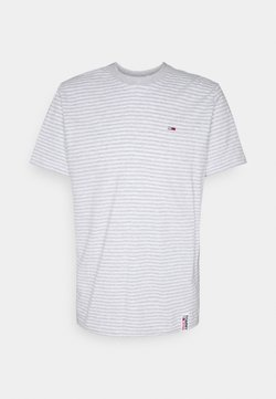 Tommy Jeans - STRIPE TAB TEE - T-Shirt print - white heather/light grey heather