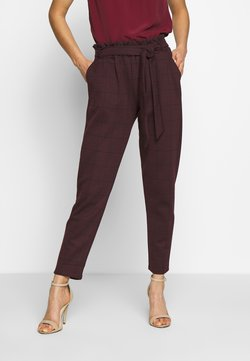 New Look - BERT CHECK TROUSER - Chinot - dark burgundy