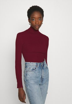 Missguided - ROLL NECK  - Strickpullover - burgundy