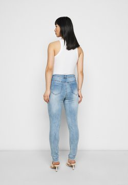 Missguided Petite - SINNER WAISTED AUTHENTIC RIPPED - Vaqueros pitillo - blue