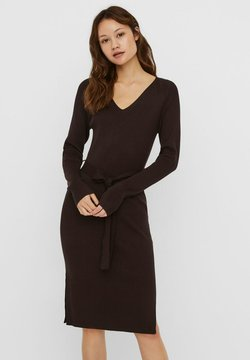 Vero Moda - VMBARBARA V-NECK BELT DRESS - Vestido de tubo - chocolate plum